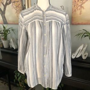 Loft White and Striped Blue Button Up Blouse